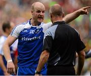 8 August 2015; Dick Clerkin, Monaghan, remonstrates with referee Cormac Reilly. GAA Football All-Ireland Senior Championship Quarter-Final, Monaghan v Tyrone. Croke Park, Dublin. Picture credit: Piaras Ó Mídheach / SPORTSFILE