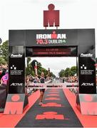 9 August 2015;  Susie Cheetham, Great Britain, fought off stiff competition to take the gold medal at today's inaugural IRONMAN 70.3 Dublin. Dublin City Council hosted the competition which saw over 2500 athletes complete a 1.2 mile swim in Scotsman's Bay in Dun Laoghaire, before mounting their bikes to travel through Dublin and west of the city for a 56 mile cycle, to return to the Phoenix Park for the 13.1 mile half-marathon.    1,500 Irish athletes took part in today's event and 1,000 international athletes from 40 countries travelled to Dublin to compete in the gruelling competition. Chesterfield Avenue, Phoenix Park, Dublin. Picture credit: David Maher / SPORTSFILE