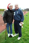 25 December 2008; Former World 5,000m Champion Eamonn Coghlan, who is recovering from a recent accident, with Goal's John O'Shea after one of the many Goal Miles at the athletics track in UCD, Belfield, Dublin. This year the event took place at 72 locations around Ireland. Annual Goal Mile, Belfield, University College, Dublin. Picture credit: Ray McManus / SPORTSFILE