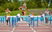 9 August 2015; Sarah Lavin, from U.C.D. A.C, knocks the third last hurdle before being disqualified during the women's 100m hurdles. GloHealth Senior Track and Field Championships. Morton Stadium, Santry, Co. Dublin. Picture credit: Matt Browne / SPORTSFILE