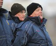 4 January 2009; Joint Leitrim managers Mickey Moran, left, and John Morrison during the game. FBD Connacht League, Section 2, GMIT v Leitrim, Tuam Stadium, Tuam, Co. Galway. Picture credit: Ray Ryan / SPORTSFILE