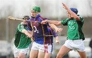 4 January 2009; Kevin Lannigan, University of Limerick, in action against Denis Moloney, left, and Gavin O'Mahony Limerick. Waterford Crystal Cup, Limerick v University of Limerick, Claughaun, Limerick. Picture credit: Diarmuid Greene / SPORTSFILE