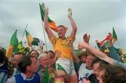 24 July 1994; Leitrim captain Declan Darcy celebrates his side's victory. Connacht Senior Football Championship Final, Mayo v Leitrim, McHale Park, Castlebar, Co. Mayo. Picture Credit: David Maher / SPORTSFILE