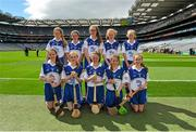9 August 2015; The Waterford camogie team, back row, left to right, Ellen Regan, Crinkill NS, Birr, Offaly, Caolfhionn Ní Mhuilleoir, Gaelscoil Uí Fiach, Maigh Nuad, Cill Dara, Emer O'Donnell, St. Patrick's Girls, Carndonagh, Donegal, Lucy O'Kane, St. John's PS, Coleraine, Derry, Gráinne O'Reilly, Emo NS, Portlaoise, Laois, front row, left to right, Christine Shanahan, Scoil Olaf, Dundrum, Dublin, Jessica Halley, Fenor NS, Tramore, Waterford, Lauren Kelly, St. Bernard's NS, Abbeylara, Longford, Aoife Gray, Stonepark NS, Stonepark, Longford, Cora Kenny, New Inn NS, Ballinasloe, Galway, before the Cumann na mBunscol INTO Respect Exhibition Go Games 2015 at Kilkenny v Waterford - GAA Hurling All-Ireland Senior Championship Semi-Final. Croke Park, Dublin. Picture credit: Dáire Brennan / SPORTSFILE