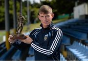 11 August 2015; Ryan Swan, UCD, with his SSE Airtricity player of the month award for July 2015. Belfield Bowl, Belfield, UCD, Dublin. Picture credit: Seb Daly / SPORTSFILE