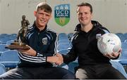 11 August 2015; UCD Manager Collie O'Neill, right, congratulates player Ryan Swan on winning the SSE Airtricity player of the month award for July 2015. Belfield Bowl, Belfield, UCD, Dublin. Picture credit: Seb Daly / SPORTSFILE