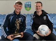 11 August 2015; UCD's Ryan Swan, left, and manager Collie O'Neill, after he was presented with the SSE Airtricity player of the month award for July 2015. Belfield Bowl, Belfield, UCD, Dublin. Picture credit: Seb Daly / SPORTSFILE