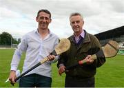 11 August 2015; Ireland's GAA and Horse Racing 'All Stars' got their hurleys out for cancer research on Tuesday night at Saint Conleth's Park, Newbridge, Kildare, for a celebrity hurling match in aid of the Irish Cancer Society to raise money for cancer research. The event, which was organised by horseracing legend Jim Bolger, along with champion jockey Davy Russell, saw a host of Irish hurling and horse racing stars come together for a fantastic game, which also boasted celebrity referees, lineswomen and umpires - who included DJ Carey, Brian Cody, Liam Griffin, Niall Quinn and Cyril Farrell - to name but a few. If you didn't get to attend the match last night and would like to support cancer research visit www.cancer.ie or CallSave 1850 60 60 60 to make a donation. Pictured are Jim Bolger, left, and Davy Russell  before the game. St Conleth's Park, Newbridge, Co. Kildare. Picture credit: Piaras Ó Mídheach / SPORTSFILE