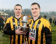 14 December 2008; Crossmaglen Rangers' Tony McEntee and John McEntee with the Seamus McFerran cup. AIB Ulster Senior Club Football Championship Final Replay, Crossmaglen Rangers v Ballinderry, Brewster Park, Enniskillen, Co. Fermanagh. Picture credit: Oliver McVeigh / SPORTSFILE