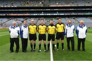 8 August 2015; Match officials, Fergal Smyth, Martin McNally, Noel Mooney, Gary McCormack, along with umpires, Michael Mooney, Martin Sheridan, Berney Quinn, and Michael Graham, before the game. GAA Football All-Ireland Junior Championship Final, Kerry v Mayo. Croke Park, Dublin. Picture credit: Ray McManus / SPORTSFILE