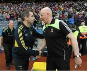 8 August 2015; Donegal manager Rory Gallagher and Mayo joint manager Pat Holmes shake hands after the game. GAA Football All-Ireland Senior Championship Quarter-Final. Donegal v Mayo, Croke Park, Dublin. Picture credit: Stephen McCarthy / SPORTSFILE