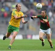 8 August 2015; Colm McFadden, Donegal, in action against Keith Higgins, Mayo. GAA Football All-Ireland Senior Championship Quarter-Final. Donegal v Mayo, Croke Park, Dublin. Picture credit: Stephen McCarthy / SPORTSFILE