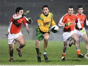 21 January 2009; Rory Kavanagh, Donegal, in action against Barry McDonald and Neil O'Rourke, Armagh. Gaelic Life Dr. McKenna Cup Semi-Final, Donegal v Armagh, Healy Park, Omagh, Co. Tyrone. Picture credit: Oliver McVeigh / SPORTSFILE