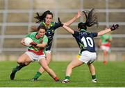 15 August 2016; Mayo's Doireann Hughes in action against Kerry's Emma Sherwood, behind, and Sarah Houlihan. TG4 Ladies Football All-Ireland Senior Championship, Quarter-Final, Kerry v Mayo, Gaelic Grounds, Limerick. Picture credit: Seb Daly / SPORTSFILE