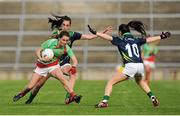 15 August 2015; Mayo's Doireann Hughes in action against Kerry's Emma Sherwood, behind, and Sarah Houlihan. TG4 Ladies Football All-Ireland Senior Championship, Quarter-Final, Kerry v Mayo, Gaelic Grounds, Limerick. Picture credit: Seb Daly / SPORTSFILE