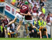 16 August 2015; Jack Kenny and Cianan Fahy, Galway, celebrate at the end of the game. Electric Ireland GAA Hurling All-Ireland Minor Championship, Semi-Final Replay, Kilkenny v Galway. Croke Park, Dublin. Picture credit: David Maher / SPORTSFILE