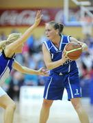 25 January 2009; Michelle Aspell, Bausch & Lomb Wildcats, in action against Nollaig Cleary, Team Montenotte Hotel, Cork. Women's Superleague Cup Final, Bausch & Lomb Wildcats, Waterford, v Team Montenotte Hotel, Cork, National Basketball Arena, Tallaght. Picture credit: Brendan Moran / SPORTSFILE