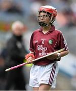 16 August 2015; Tiana O'Brien, St Joseph's PS, Ederney, Fermanagh, representing Galway, in action during the Cumann na mBunscol INTO Respect Exhibition Go Games 2015 at Tipperary v Galway - GAA Hurling All-Ireland Senior Championship Semi-Final. Croke Park, Dublin. Picture credit: David Maher / SPORTSFILE