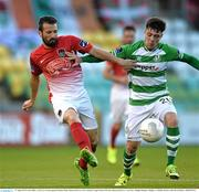 17 August 2015; Liam Miller, Cork City, in action against Brandon Miele, Shamrock Rovers. SSE Airtricity League Premier Division, Shamrock Rovers v Cork City. Tallaght Stadium, Tallaght, Co. Dublin. Picture credit: David Maher / SPORTSFILE