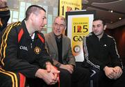 3 February 2009; Ulster GAA coaches Diarmuid Marsden, left, with Ryan Mellon, right, and Tyrone manager Mickey Harte, centre, at the launch of the Ulster Council's GAA 125th anniversary celebrations. Europa Hotel, Belfast, Co. Antrim. Picture credit: Oliver McVeigh / SPORTSFILE