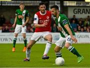 21 August 2015;  Liam Miller, Cork City, in action against Killian Brennan, St Patrick's Athletic. Irish Daily Mail FAI Cup, Third Round, Cork City v St Patrick's Athletic, Turners Cross, Cork. Picture credit: David Maher / SPORTSFILE
