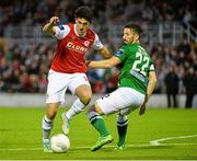 21 August 2015; Jamie McGrath, St Patrick's Athletic, in action against Liam Miller, Cork City. Irish Daily Mail FAI Cup, Third Round, Cork City v St Patrick's Athletic, Turners Cross, Cork. Picture credit: David Maher / SPORTSFILE