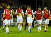 21 August 2015; Disappointed  St Patrick's Athletic players at the end of the game from left, Ger O'Brien, Jason McGuinness, Sean Hoare, James Chambers and Chris Forrester. Irish Daily Mail FAI Cup, Third Round, Cork City v St Patrick's Athletic, Turners Cross, Cork. Picture credit: David Maher / SPORTSFILE