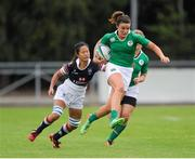 22 August 2015; Louise Galvin, Ireland, is tackled by Wai Sum Sham, Hong Kong. Women's Sevens Rugby Tournament, Pool C, Ireland v Hong Kong. UCD, Belfield, Dublin. Picture credit: Seb Daly / SPORTSFILE