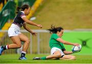 22 August 2015; Hannah Tyrrell, Ireland, scores her side's eighth try. Women's Sevens Rugby Tournament, Pool C, Ireland v Hong Kong. UCD, Belfield, Dublin. Picture credit: Seb Daly / SPORTSFILE