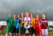 22 August 2015; The launch of the 2015-16 Continental Tyres Women's National League season took place today at FAI Headquarters on the National Sports Campus with players, managers, coaches, backroom staff and officials from the eight clubs along with representatives of the media, Continental Tyres, WFAI and FAI. The new season, which kicks-off on September 5 and runs until May 1, will see the clubs battling for four Continental Tyres sponsored trophies via the League, League Cup, FAI Women's Senior Cup and a new Shield competition.  There will be two new clubs in the Women's National League this season following the admission of Kilkenny United and the amalgamation of two-times League champions Raheny United with Shelbourne Ladies. Today's launch was an interactive, competitive, educational and engaging event with something for everyone. Players took to the new 3G pitch at FAI HQ to take part in the Conti Warm-up, Continental Challenges and an Exhibition Match while coaches and managers were involved in specially designed performance workshops and a panel discussion about women's football in Ireland. Pictured at the launch are, from left, Yvonne Hedigan, Castlebar Celtic, Claire Kinsella, Peamount United, Aine O'Gorman, UCD Waves, Katie McCarthy, Cork City Womens, Kylie Murphy, Wexford Youths, Jenny O'Keeffe, Kilkenny United, Pearl Slattery, Shelbourne and Meabh de Burca, Galway. FAI Headquarters, Abbottstown. Picture credit: Ramsey Cardy / SPORTSFILE