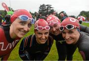 23 August 2015; Vodafone staff, from left, Tara Goldrick, Orla Benson, Emma Timmons and Claire Reyolds, pictured before their swim in the Vodafone Dublin City Triathlon 2015. Phoenix Park, Dublin. Picture credit: David Maher / SPORTSFILE