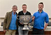 22 August 2015; Kerry legend Tomás Ó Sé with Tomás O'Shea, left, and Tomás Darragh O'Shea, from Beaufort, Co. Kerry, at the Bord Gáis Energy Legends Tour at Croke Park, where he relived some of most memorable moments from his playing career. All Bord Gáis Energy Legends Tours include a trip to the GAA Museum, which is home to many exclusive exhibits, including the official GAA Hall of Fame. For booking and ticket information about the GAA legends for this summer visit www.crokepark.ie/gaa-museum. Croke Park, Dublin. Picture credit: Brendan Moran / SPORTSFILE