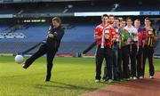 9 February 2009; AIB Bank General Manager Billy Finn shows off his football skills during a photocall ahead of the AIB GAA Football and Hurling Junior and Intermediate Club Championship Finals in front of, from left, John Hughes, Blarney, Cork, John McDermott, John Mitchells, Liverpool, Stephen O'Sullivan, Skellig Rangers, Kerry, Kieran Granfield, St. Michaels Foilmore, Kerry, Greg Rogan, St. Michaels, Galway, Diarmuid O'Riordan, Dripsey, Cork, and Pat Hartley, Tullogher Robereen, Kilkenny. Croke Park, Dublin. Picture credit: Pat Murphy / SPORTSFILE