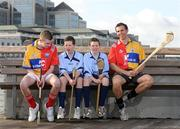 10 February 2009; Twins Patrick and Simon O'Reilly, from Our Lady's National School, Ballinteer, with Louth's Brian McCabe, left, and Clare's Tony Griffin at todays announcement of plans for the 2009 Halifax GPA Hurling Twinning Programme. The scheme will be expanded over the next twelve months with increased squad visits following the success of last year's inaugural programme. Clarion Hotel, IFSC, Dublin. Picture credit: Paul Mohan / SPORTSFILE
