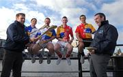 10 February 2009; GPA Chief Dessie Farrell, left, and Karl Manning, Director of Retail Sales at Halifax, right, show their hurling skills to hurlers, from left, Monaghan's Michael McHugh, Tipperary's Diarmuid Fitzgerald, Louth's Brian McCabe and Clare's Tony Griffin at todays announcement of plans for the 2009 Halifax GPA Hurling Twinning Programme.  The scheme will be expanded over the next twelve months with increased squad visits following the success of last year's inaugural programme. Clarion Hotel, IFSC, Dublin. Picture credit: Paul Mohan / SPORTSFILE