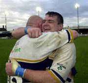 21 October 2000; Reggie Corrigan, left, and Gary Halpin of Leinster congratulate each other following their side's victory during the Heineken Cup Pool 1 match between Northampton Saints and Leinster at Franklin's Gardens in Northampton, England. Photo by Matt Browne/Sportsfile