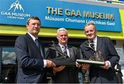 26 August 2015; Uachtarán Chumann Lúthchleas Gael Aogán Ó Fearghail with Cork's Jimmy Barry Murphy, left, and Dublin's Jimmy Keaveney, right, who were announced into the GAA Museum Hall of Fame. GAA Museum, Croke Park, Dublin. Picture credit: Matt Browne / SPORTSFILE