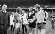 28 September 1975; Kerry captain Mickey Ned O'Sullivan, left, shakes hands with Dublin captain Sean Doherty. All-Ireland Football Final. Dublin v Kerry. Croke Park, Dublin. Picture credit: Connolly Collection / SPORTSFILE