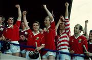 2 September 1990. Cork players celebrate as the Liam MacCarthy is raised after their victory. Cork v Galway, All-Ireland Hurling Final, Croke Park, Dublin. Picture credit: Ray McManus/SPORTSFILE