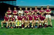 2 September 1990; The Galway hurling team, back row, left to right, Dermot Fahy, Michael Coleman, John Commins, Tony Keady, Martin Naughton, Noel Lane, Pat Malone, Sean Treacy, front row, left to right, Peter Finnerty, Michael McGrath, Joe Cooney, Gerry McInerney, Anthony Cunningham, Eanna Ryan, Ollie Kilkenny. All-Ireland Hurling Final, Cork v Galway, Croke Park, Dublin. Picture credit: Ray McManus / SPORTSFILE