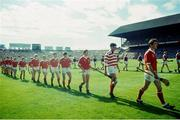 2 September 1990. Cork captain Tomás Mulcahy, front right, and goalkeeper Ger Cunningham lead the Cork team onto the pitch alongside Galway. Cork v Galway, All-Ireland Hurling Final, Croke Park. Picture credit: Ray McManus/SPORTSFILE