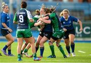 29 August 2015; Elise O'Byrne, Leinster, is tackled by Grainne Egan, left, and Edel McMahon, Connacht. Women's Interprovincial, Leinster v Connacht, Donnybrook Stadium, Donnybrook, Dublin. Picture credit: Sam Barnes / SPORTSFILE