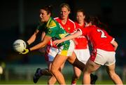 29 August 2015; Louise Galvin, Kerry, in action against Marie Ambrose and Deidre O'Reilly, behind, Cork. TG4 Ladies Football All-Ireland Senior Championship, Semi-Final, Cork v Kerry, Gaelic Grounds, Limerick. Picture credit: Piaras Ó Mídheach / SPORTSFILE
