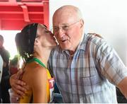 30 August 2015; Sinead Diver, from Belmullet, Co. Mayo, representing Australia, with her father Eddie following her 21st place finish in the Women's Marathon event. IAAF World Athletics Championships Beijing 2015 - Day 9, National Stadium, Beijing, China. Picture credit: Stephen McCarthy / SPORTSFILE
