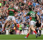 30 August 2015; Andy Moran, Mayo, celebrates after scoring his side's equalising point. GAA Football All-Ireland Senior Championship, Semi-Final, Dublin v Mayo, Croke Park, Dublin. Picture credit: David Maher / SPORTSFILE