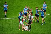 30 August 2015; Dublin players Cian O'Sullivan, James McCarthy, and Diarmuid Connolly, signal to referee Joe McQuillan that Lee Keegan, Mayo, dived. The Mayo free was subsequently brought forward ten metres. GAA Football All-Ireland Senior Championship, Semi-Final, Dublin v Mayo, Croke Park, Dublin. Picture credit: Dáire Brennan / SPORTSFILE