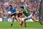 30 August 2015; Jack McCaffrey, Dublin, in action against Ger Cafferkey, Mayo . GAA Football All-Ireland Senior Championship, Semi-Final, Dublin v Mayo, Croke Park, Dublin. Picture credit: Ramsey Cardy / SPORTSFILE