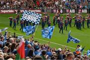 30 August 2015; Dublin supporters fly their flags during the pre match parade. GAA Football All-Ireland Senior Championship, Semi-Final, Dublin v Mayo, Croke Park, Dublin. Picture credit: Ray McManus / SPORTSFILE
