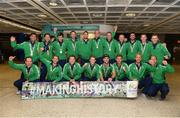 30 August 2015; The Irish Hockey team arrived home into Dublin Airport with a Bronze medal after defeating England in the Eurohockey Championships in London, England. Dublin Airport, Dublin. Picture credit: Ray Lohan / SPORTSFILE