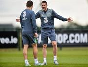 31 August 2015; James McCarthy and Seamus Coleman, Republic of Ireland, during squad training. Republic of Ireland Squad Training, Abbotstown, Co. Dublin. Picture credit: David Maher / SPORTSFILE